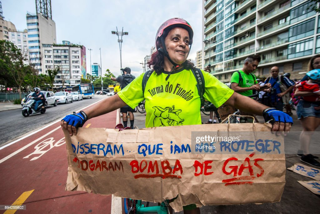 Cyclists protest in Sao Paulo