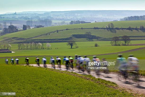 cyclists racing. blurred motion - オランダ リンブルフ州 ストックフォトと画像
