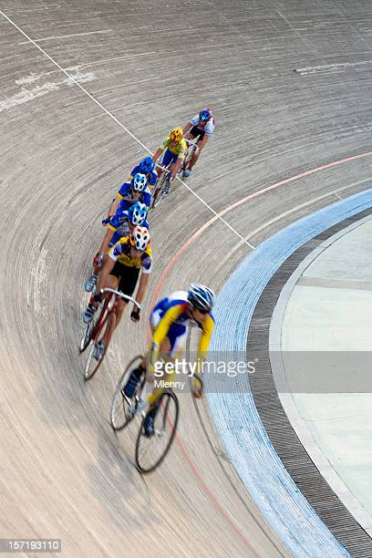 cyclists racing in bicycle velodrom