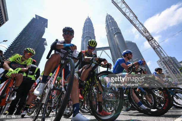 Cyclists ready at the starting grid near KLCC Twin Towers during Stage 1 of the 24th Le Tour de Langkawi 2019, Kuala Lumpur to Tampin on April 06,...