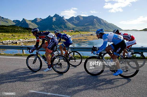 Cyclists ride during the second stage of the Arctic Race of Norway on August 9 2013 in Svolvaer Norway AFP PHOTO / DANIEL SANNUM LAUTEN