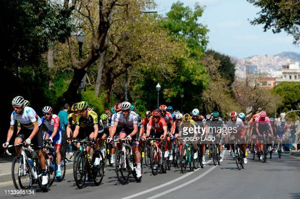 Cyclists ride during the seventh and last stage of the 99th Volta Catalunya 2019 a 143,1km from Barcelona to Barcelona, on March 31, 2019 in...