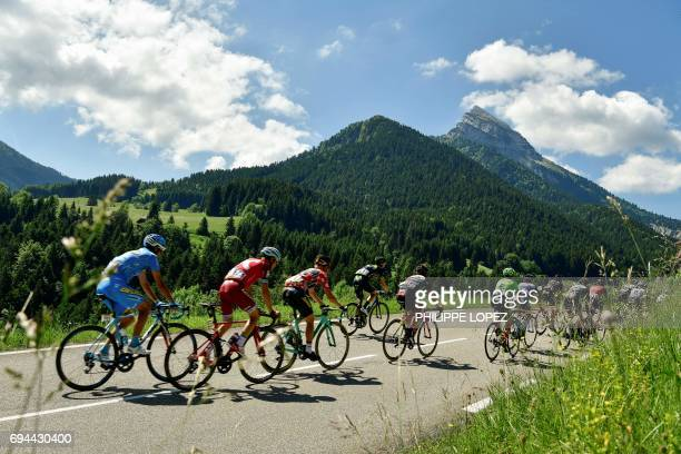 TOPSHOT Cyclists ride in a breakaway during the 168 km seventh stage of the 69th edition of the Criterium du Dauphine cycling race on June 10 2017...
