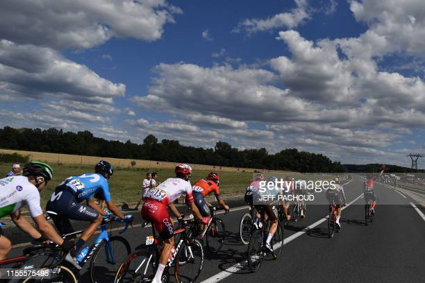 Cyclists ride in a breakaway during the ninth stage of the 106th edition of the Tour de France cycling race between Saint-Etienne and Brioude, on...