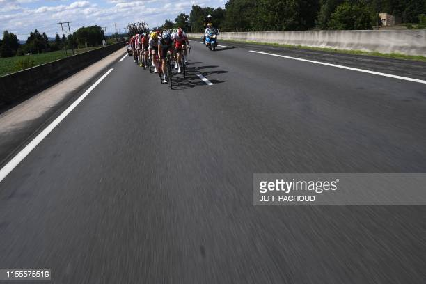 Cyclists ride in a breakaway during the ninth stage of the 106th edition of the Tour de France cycling race between SaintEtienne and Brioude on July...