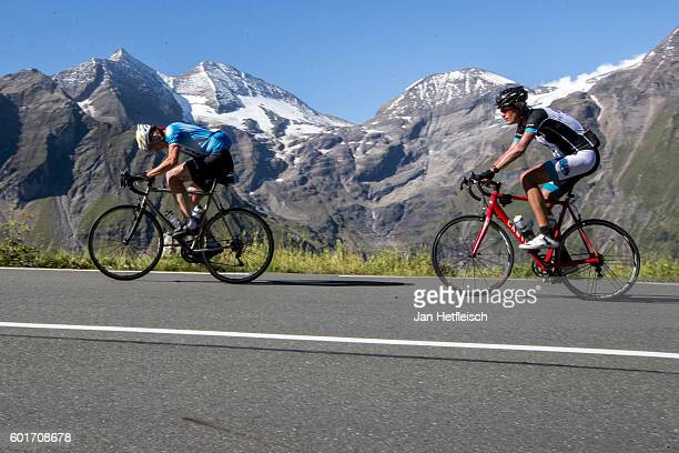 Cyclists ride the Grossglockner high alpine road on September 08 near Zell am See Austria The Grossglockner high alpine road is the highest mountain...
