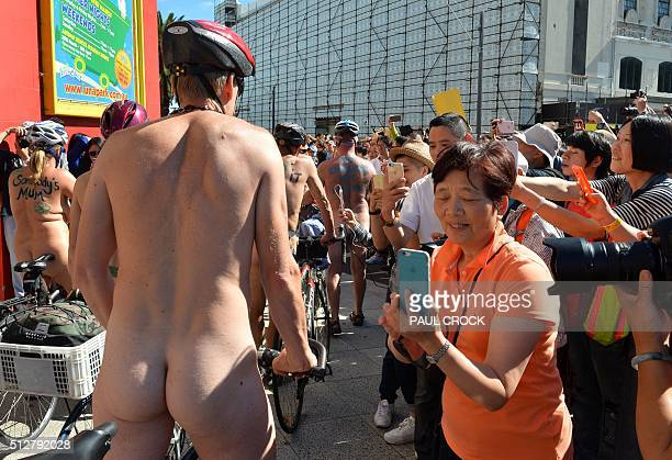 Cyclists ride through St Kilda as they take part in the World Naked Bike Ride in Melbourne on February 28 2016 The World Naked Bike Ride happens...
