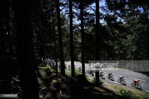 Cyclists ride throuhg a forest during the fifth stage of the 106th edition of the Tour de France cycling race between Saint-Die-des-Vosges and...