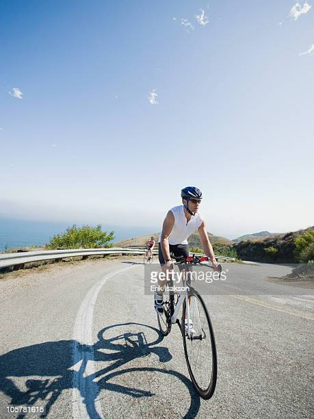 Cyclists road riding in Malibu