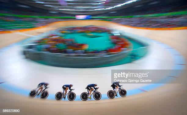 US cyclists Sarah Hammer Kelly Catlin Chloe Digest and Jennifer Valence compete in the women's team pursuit final against Great Britain on Saturday...