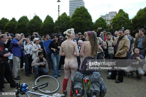 Cyclists take part in a naked bike ride at Speaker's Corner Hyde Park in central London to mark World Naked Bike Ride day