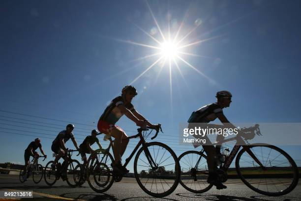 Cyclists take part in the 2017 Below The Belt Pedalthon at Sydney Motorsport Park on September 19 2017 in Sydney Australia Now in its 4th year...