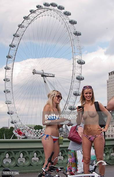 Cyclists take part in the annual 'London World Naked Bike Ride' event in Westminster central London on June 12 2010 Now in it's seventh year the...