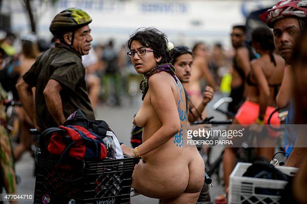 Cyclists take part in the annual World Naked Bike Ride in Caracas on June 13 2015 The Naked Bike Ride is a world event to protest against gas...