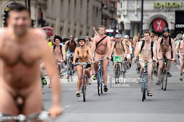 Cyclists take part in the annual World Naked Bike Ride in central London on June 14 to protest against car culture and to raise awareness of cycling...