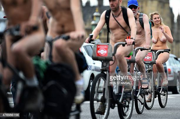 Cyclists take part in the annual World Naked Bike Ride in central London on June 13 2015 The London World Naked Bike Ride is a protest event in...