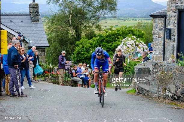 Cyclists take part in the Harlech Hell Climb on August 11, 2019 in Harlech, Wales. Today the inaugural Harlech hill climb event takes place on the...