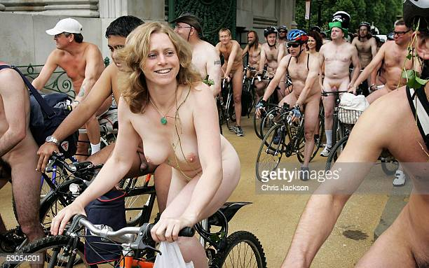 Cyclists takes part in the World Naked Bike Ride Northern Hemisphere a naked protest against oil dependency and car culture which is taking place in...