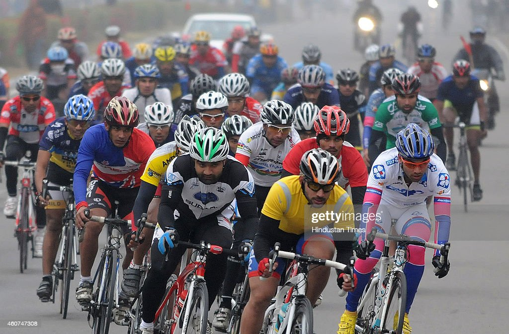 Cyclists taking part in fourth edition of the National Chandigarh Cyclothon on December 21 2014 on Chandigarh India