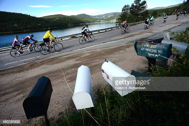 Cyclists top out at Barker Reservoir in Nederland, CO after making the 18 mile ascent up Boulder Canyon on June 8, 2014. Over 2,000 cyclists took...