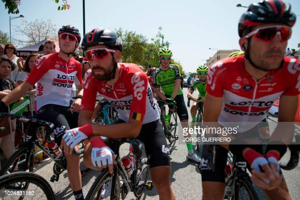 Cyclists wait for the start of the fourth stage of the 73rd edition of La Vuelta Tour of Spain cycling race a 1614 km route from VelezMalaga to...