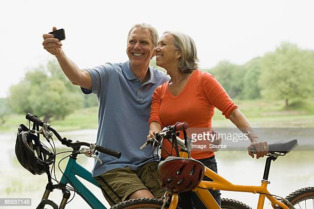 Cyclists with camera