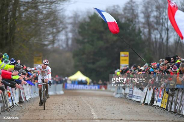 13th WC Nommay Arrival / Mathieu VAN DER POEL UCI Leaders jersey Celebration / World Cup /