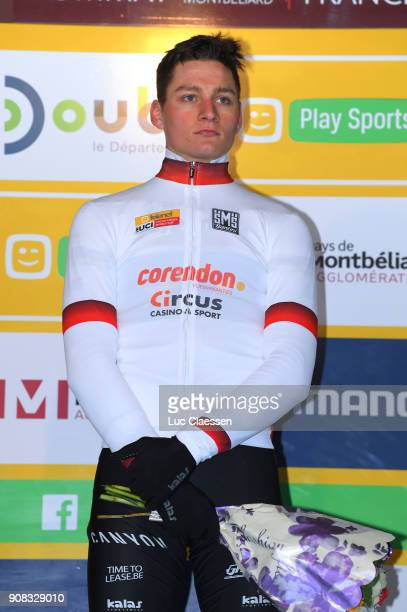 13th WC Nommay Podium / Mathieu VAN DER POEL UCI Leaders jersey/ Celebration / World Cup /