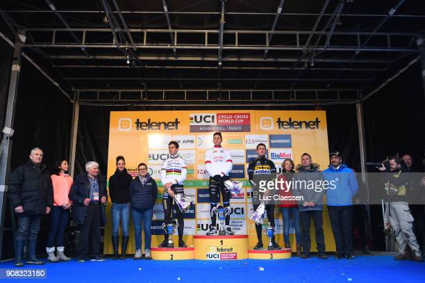 13th WC Nommay Podium / Wout VAN AERT / Mathieu VAN DER POEL UCI Leaders jersey/ Toon AERTS / Celebration / World Cup /