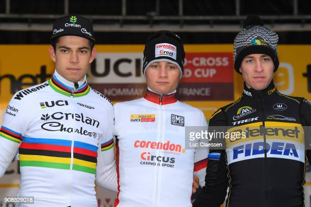 13th WC Nommay Podium / Wout VAN AERT / Mathieu VAN DER POEL UCI Leaders jersey/ Toon AERTS Celebration / World Cup /
