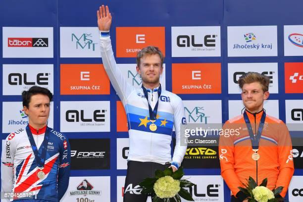17th European Championships Tabor 2017 / Men U23 Podium / Thomas PIDCOCK Silver Medal / Eli ISERBYT European Champion Jersey Gold Medal / Sieben...