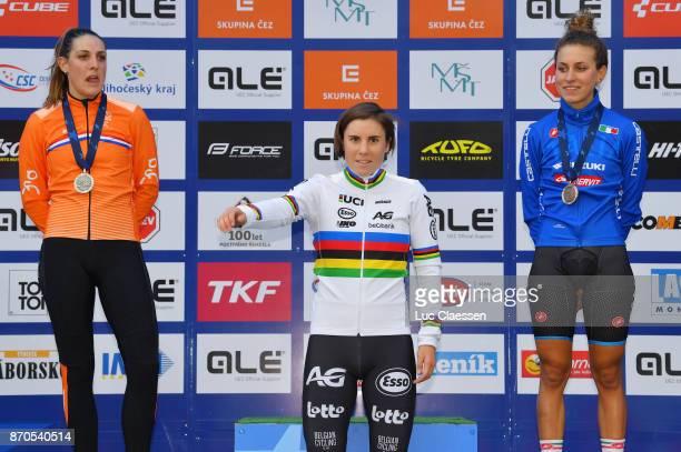17th European Championships Tabor 2017 / Women Elite Podium / Lucinda BRAND Silver Medal / Sanne CANT Gold Medal / Alice Maria ARZUFFI Bronze Medal /...
