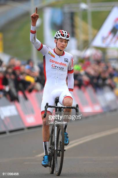 30th WC GP Adrie Van der Poel Hoogerheide 2018 / Men Arrival / Mathieu VAN DER POEL UCI Leaders jersey Celebration / World Cup /