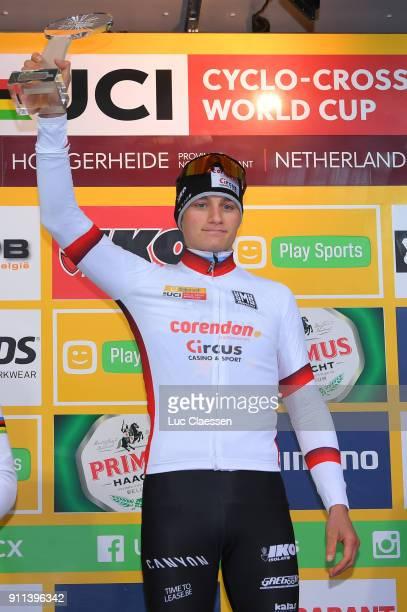 30th WC GP Adrie Van der Poel Hoogerheide 2018 / Men Podium / Mathieu VAN DER POEL UCI Leaders jersey Celebration / World Cup /