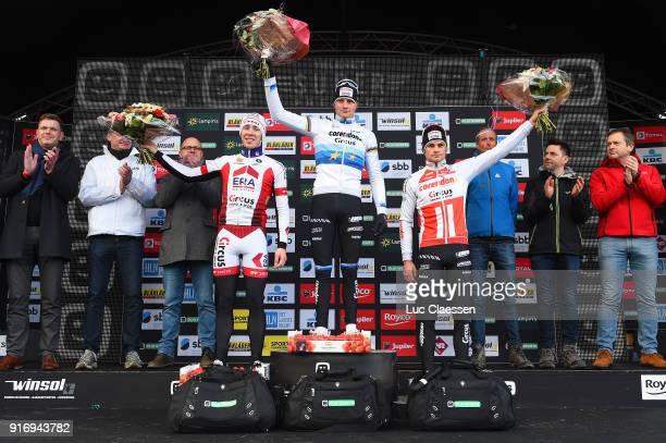 32nd SP Hoogstraten 2018 Podium / Laurens SWEECK / Mathieu VAN DER POEL European Champion Jersey / David VAN DER POEL / Celebration / Superprestige /