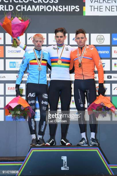 69th World Championships Valkenburg / Men Elite Podium / Michael Vanthourenhout Silver Medal / Wout Van Aert Gold Medal / Mathieu Van der Poel Bronze...