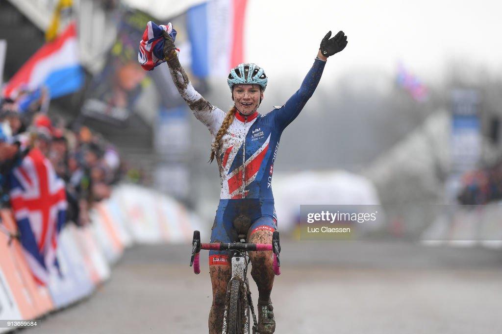 69th World Championships Valkenburg (Ned) / Women U23 Arrival / Evie RICHARDS (GBR)/ Celebration / Women U23 / World Championships /