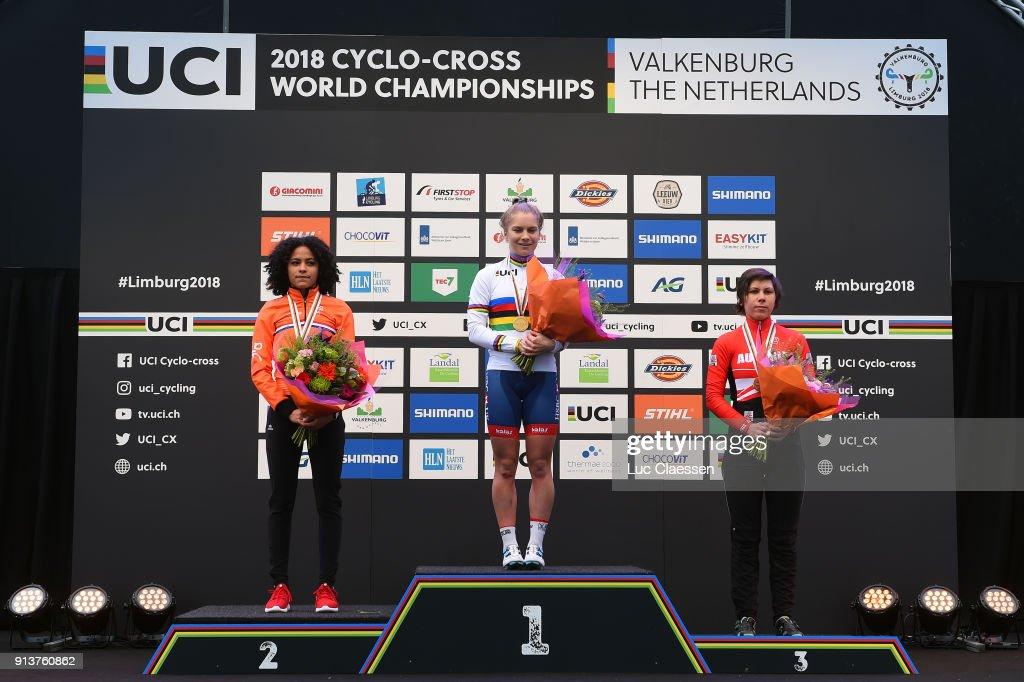 69th World Championships Valkenburg (Ned) / Women U23 Podium / Ceylin DEL CARMEN ALVARADO (NED) Silver Medal / Evie RICHARDS (GBR) Gold Medal / Nadja HEIGL (AUT) Bronze Medal / Celebration / Women U23 / World Championships /