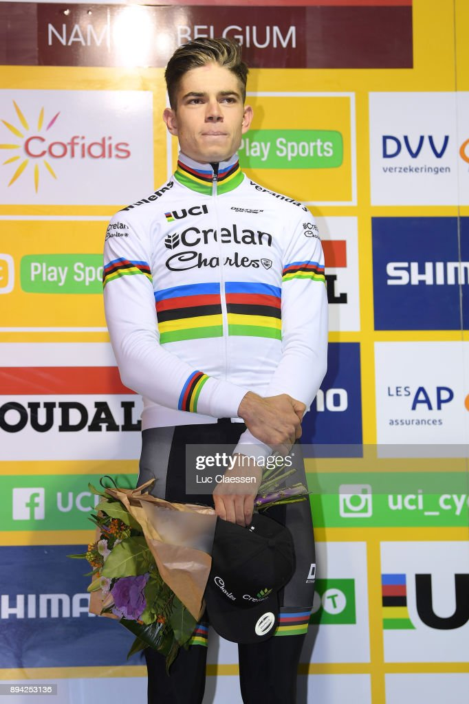 9th WC Namur 2017 Podium / Wout VAN AERT (Bel) Celebration / / World Cup /