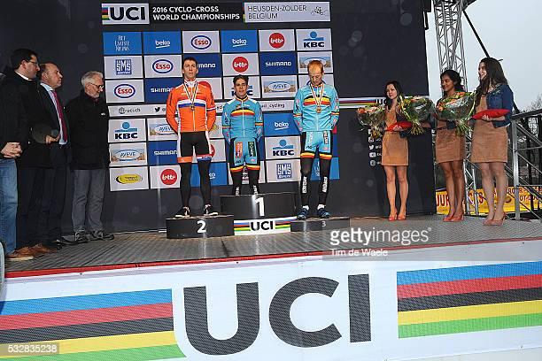 World Championships 2016 / Men Elite / Podium / Lars van der Haar / Wout van Aert / Kevin Pauwels / Celebration Joie Vreugde / Wereldkampioenschap /...