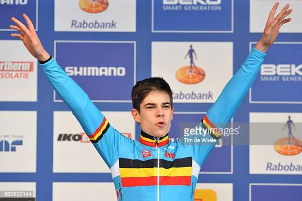 World Championships Hoogerheide 2014 / Men Under 23 / podium / Wout VAN AERT Celebration Joie Vreugde / Championnat du Monde / Wereldkampioenschap /...