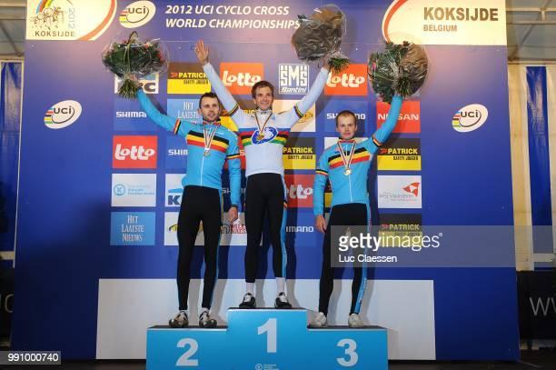World Championships Koksijde 2012, Men Elite Podium, Rob Peeters , Niels Albert , Kevin Pauwels , Celebration Joie Vreugde /Wc, Hommes Mannen,...