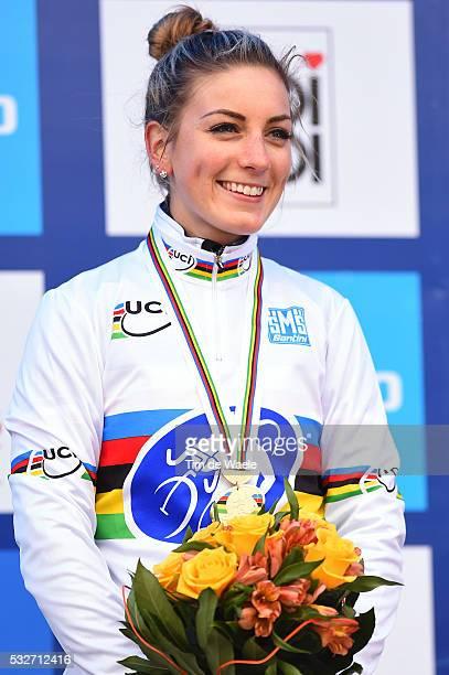 World Championships Tabor 2015 / Elite Women / Podium Pauline Ferrand Prevot Celebration / Championnat du Monde / Wereldkampioenschap / Tim De Waele