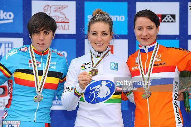 World Championships Tabor 2015 / Elite Women / Podium / Sanne Cant / Pauline Ferrand Prevot Celebration / Marianne Vos / Championnat du Monde /...