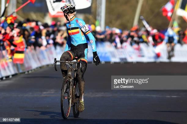 World Championships Tabor 2015 Under 23 /Arrival Michael Vanthourenhout Celebration Joie Vreugde Championnat Du Monde Wereldkampioenschap Tim De Waele