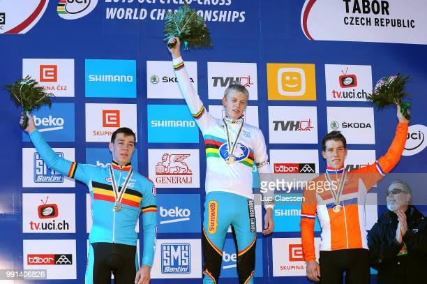 World Championships Tabor 2015 Under 23 /Podium Laurens Sweeck Michael Vanthourenhout Celebration Stan Godrie Championnat Du Monde...