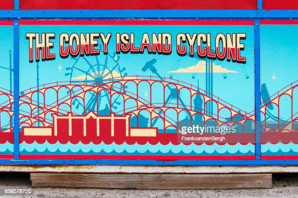 cyclone sign - coney island stock pictures, royalty-free photos & images