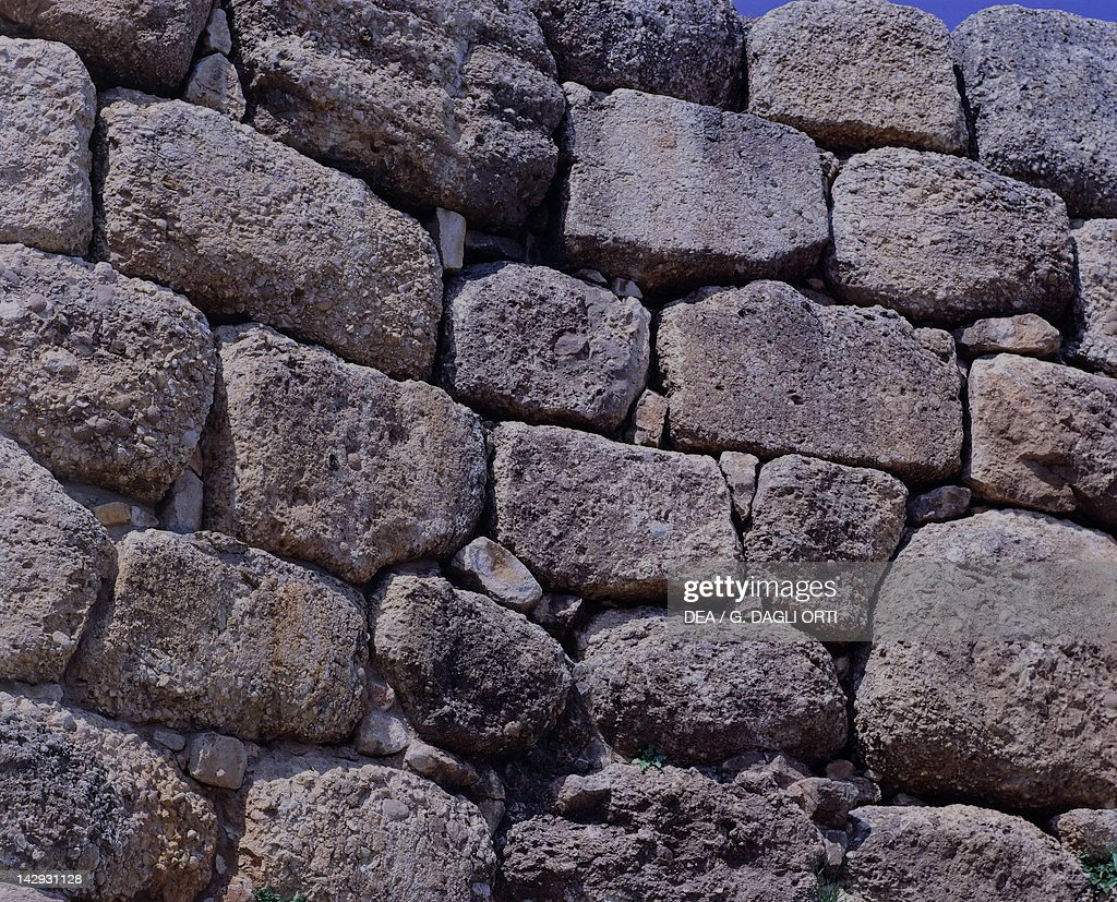 Cyclopean walls of The Acropolis in Mycenae, Greece. Mycenaean civilization, 13th-14th Century BC.