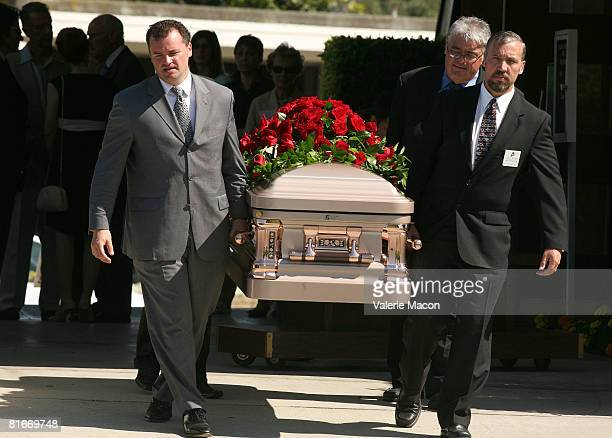 Cyd Charisse's coffin leaves Cyd Charisse's Funeral at the Hillside Memorial Park June 22 2008 in Los Angeles California