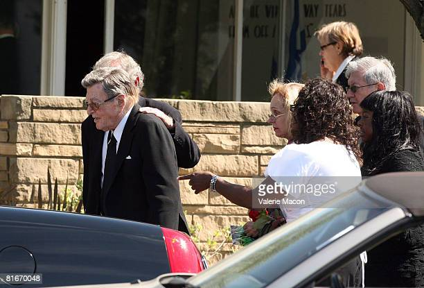 Cyd Charisse's husband Tony Martin leaves Cyd Charisse's Funeral at the Hillside Memorial Park June 22 2008 in Los Angeles California